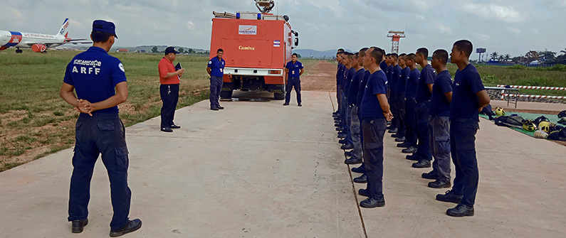 Sihanouk International's committed firefighter squadron underwent a series of intensive safety drills