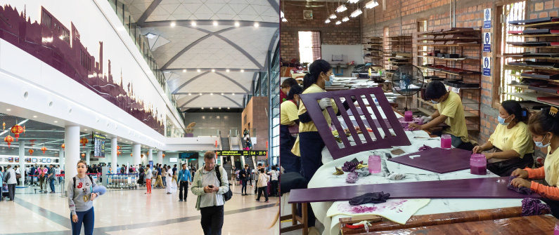 Artisans d'Angkor recently committed 81 artisans and 25,900 hours of manpower to design and install this lacquered landscape of the capital's skyline in the International Departures terminal of Phnom Penh International Airport  © Right: Courtesy Artisans