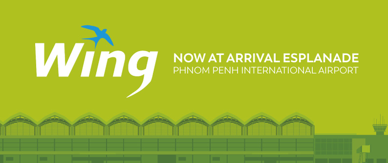 The Wing logo, ubiquitous in towns and cities across Cambodia, will now also be on display at its airport store.