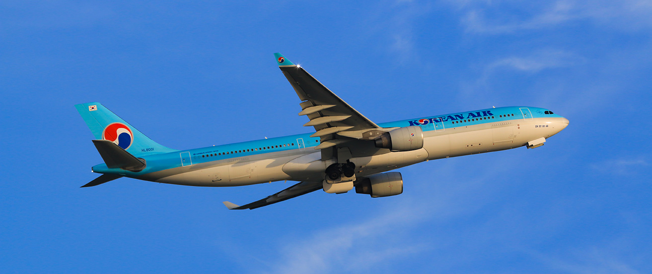 Korean Air's upgraded Airbus A330 flying high over Cambodia for the winter season.