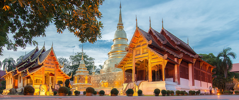 Wat Phra Singh is one of the many temples to tour in Chiang Mai, Thailand.