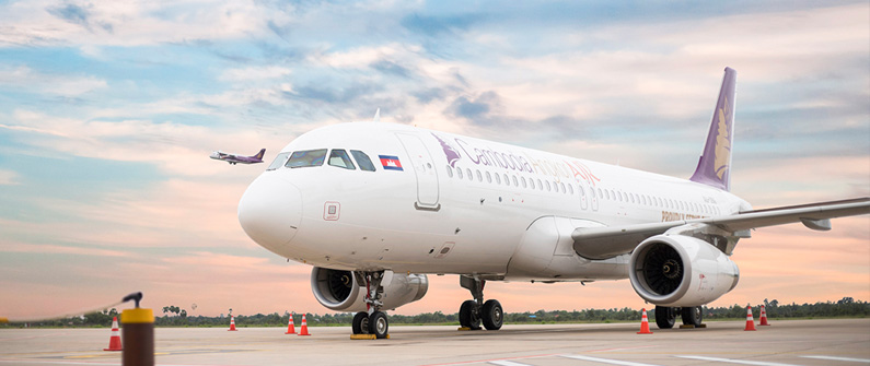 Cambodia Angkor Air's signature purple and gold logo ensures its fleet always stands out from the crowd.