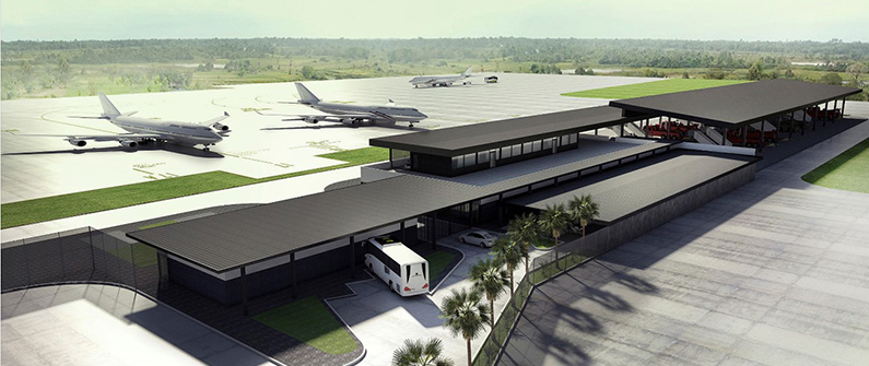 Located near the tarmac in front of gates 17-21, the two-story building will be perfectly positioned at the heart of airport activity.